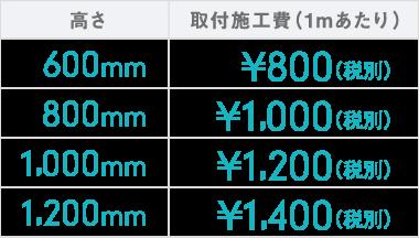 600mm : ¥800(税別) | 800mm : ¥1,000(税別) | 1,000mm : ¥1,200(税別) | 1,200mm : ¥1,400(税別)